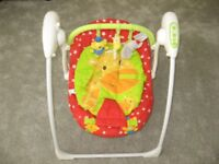 Mothercare Baby Travel Swing/Rocking Chair- 5 Swing Speeds & 3 Time Settings. Includes New Batteries
