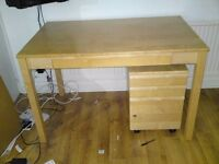Wood office/study desk, organiser, shelving unit, and 2 lockable 3 drawer pedestals. May separate