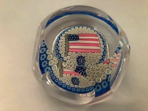 Whitefriars PL508 Large USA Flag Art Glass Paperweight