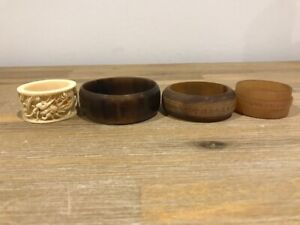 LOT OF FOUR  CHINESE ANTIQUE/VINTAGE NAPKIN RINGS IVORY AND HORN
