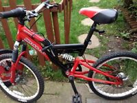BOYS 20 Inch Sabre Molten Full Suspension Bike in Red and Black. £35
