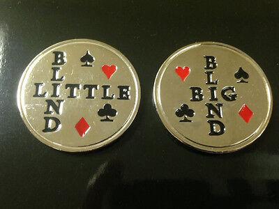 BIG BLIND & LITTLE BLIND SILVER PLATED  POKER CHIPS