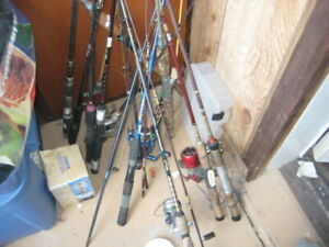 FOR SALE ALOT OF FISHING RODS WITH REELS $15 TO $40 EACH