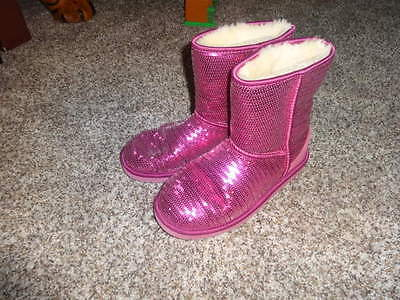 UGG UGGS GIRLS 5 PINK SPARKLE BOOTS - Girls Pink Sparkle Boots
