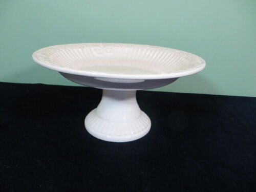 """American Atelier Athena Ironstone 11"""" Round Pedestal Cake Plate Stand Ribs 5166"""