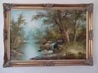 Large Original Oil Painting of Woodland Scene