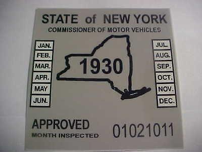 new york 1930 inspection sticker windshild model a / street rod
