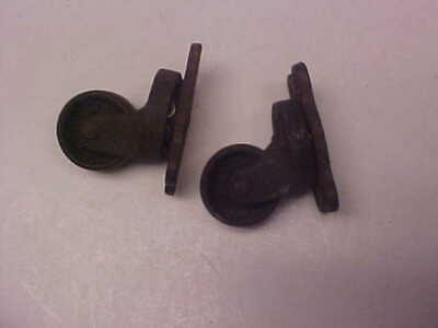 Lot Of 2 Vintage All Metal Wheels Casters Antique Old For Tables