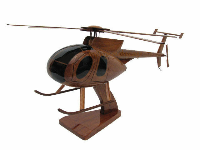 Hughes McDonnell Douglas MD-500 Mahogany Wood Wooden Helicopter Desk Model New
