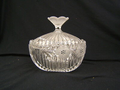 Beautiful Lead Crystal Candy Dish With Lid Poppy Design VGC