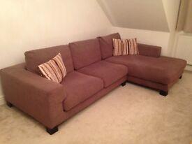 Large Mocha Corner Sofa & 2 Cushions