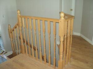 Rampe escalier et mur séparateur en chêne