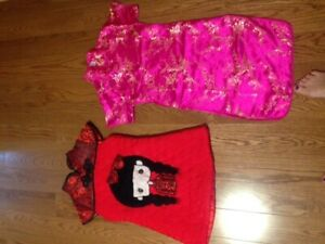 2 Traditional Chinese cute dress for girls age 6-7. Very new.