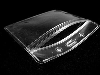 Lot Of 10 Horizontal Transparent Vinyl Plastic Id Card Badge Holder With Zipper