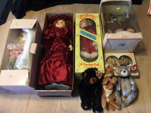 LOT OF 8!!! PORCELAIN DOLLS AND BEARS (TY) Close Out Special!!!  LOOK AT PICS!!