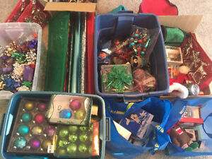 Assorted Christmas decorations and supplies