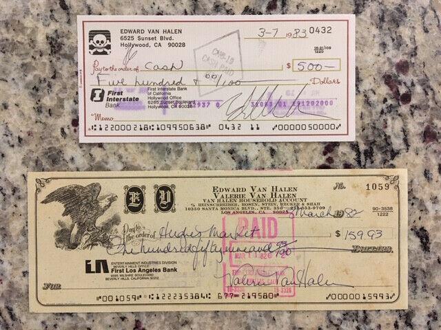 Eddie Van Halen and Valerie Van Halen signed checks