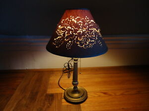 Vintage Table Lamp with Decorative Cut-out Shade