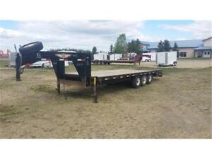 Used 8.5ft x 20+5ft H&H Tri-Axle Flatbed Trailer $9900 Tax In