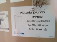 VICTORIA PLUMB Curved Bath Shower Screen- fittings - instructions- 745 x 1480 x 6 mm