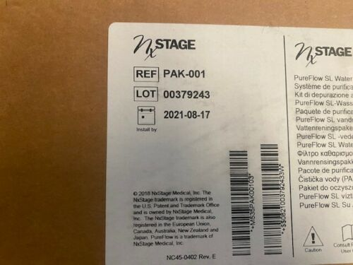 NXSTAGE Pak-001 Pure Flow SL Water Purification Pack Exp 08/17/2021 (NEW)