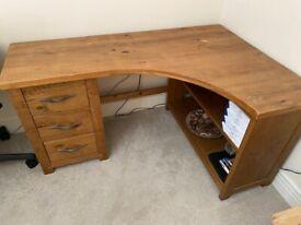 Next natural timber corner desk with drawer and shelf storage