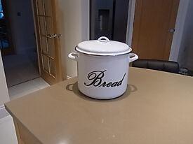 White Enamel Bread Bid (As New)