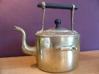 Vintage Brass Kettle Fireplace Decoration or Kitchen Ornament