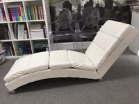 White chaise longue lounge chair sofa artificial leather