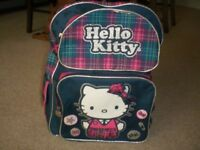 2 HELLO KITTY ITEMS - 1 BACKPACK/SCHOOL BAG AND 1 SPACEHOPPER