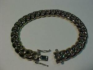"TOTAL CLASS!! 18K WHITE GOLD MANS DRESS BRACELET-*97.2 Grams* 8 1/2"" long-double safety -HALLMARKED 18K-FREE S/H-CANADAA"