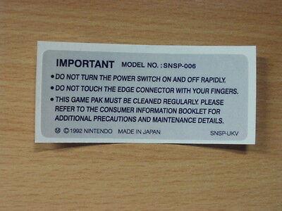 Super Nintendo SNES Back Label Cartridge Replacement Game Label Sticker Precut comprar usado  Enviando para Brazil