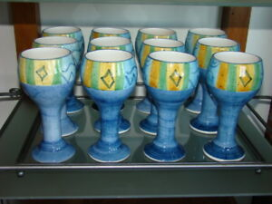 Ceramic Wine Goblets With Metal ServingTray