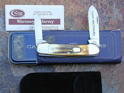 CASE BROTHERS XX 2004 GENUINE BURNT STAG LARGE CANOE KNIFE RARE LIMITED RUN NM