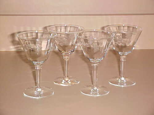 "4 Antique Crystal Etched 4 1/2"" Martini Glasses Real Nice!!"