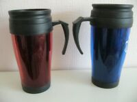 2 Kingfisher 0.4L Insulated Non Spill Travel Mug blue & red - southbourne