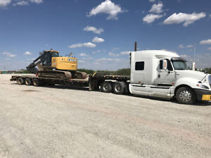 Excavator, truck, trailer and end dump