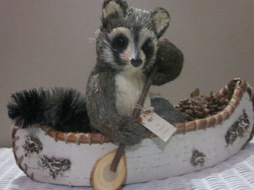 2017 Pier 1 Lg Forest Friends Scout Faux Raccoon Southwest Canoe Fall Decor NWT