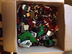 Box of Lego building blocks