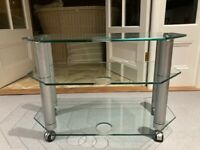 For sale John Lewis 3 tier Clear Glass TV stand