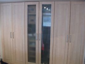 Set of 6 Beechwood Laminated Wardrobe Doors With Brushed Metal Trims & Handles