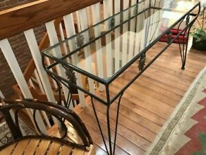 Glass and Wrought Iron Console Table + Mirror Set