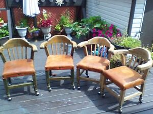 4 antique chairs on rollers