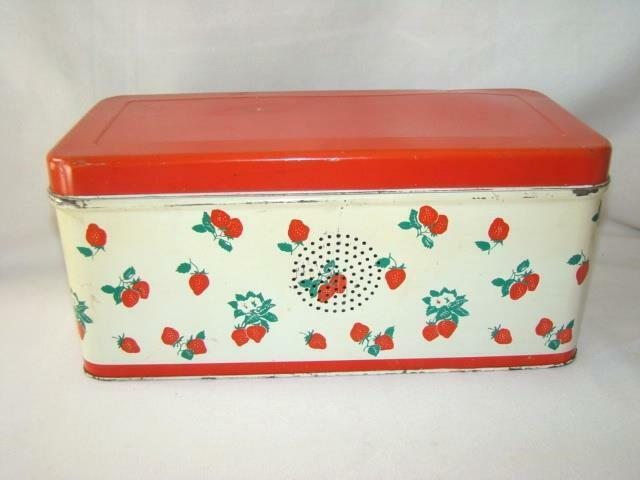 """Adorable 1940s-50s Vintage Embossed Tin 12"""" Long BREAD BOX, Red Strawberries"""