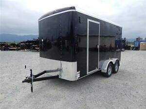 NEW SIDE X SIDE UTV BLACK 7X14 TANDEM ENCLOSED CARGO TRAILER