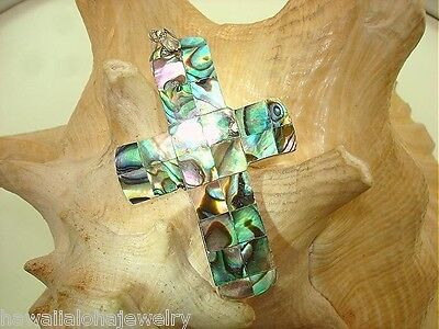 36mm Mosaic New Zealand Paua Abalone Mother of Pearl Shell Cross 18kWGP Pendant