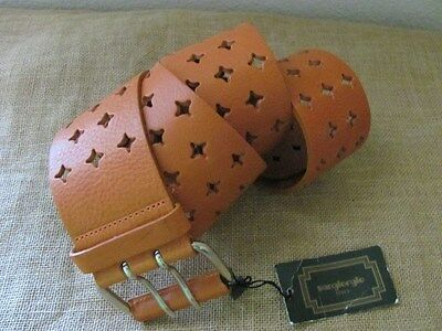 NEW SONGIORGIO ITALY LEATHER BELT BROWN SZ L MADE IN ITALY