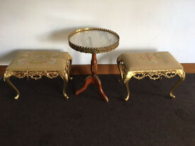Vintage French Style Round Side Table with Two matching stools