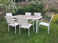 metal and wood table and 6 chairs (white)