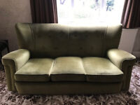 Green sofa and 2 chairs